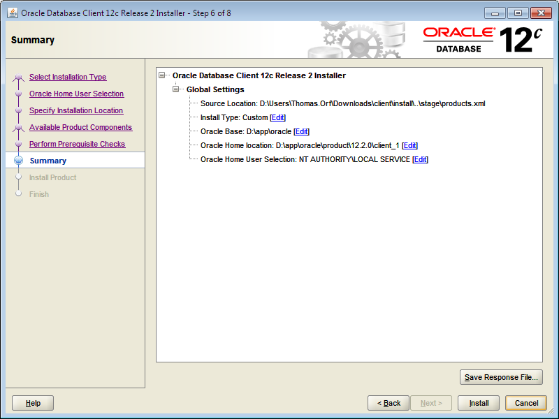 Installing Oracle 12 2 Client Software on Windows - GSI